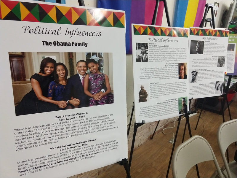 A presentation panel showing the Obama family titled Political Influences